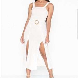 TOPSHOP Ribbed Rafia Midi Dress